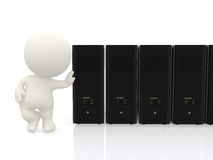 3D man with servers in line Stock Photo