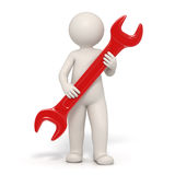 3d man - Service symbol - red spanner. 3d man holding a red spanner representing customer service - Image on white background with soft shadows Stock Photos