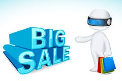 3d Man with Shopping Bag Royalty Free Stock Images