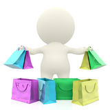 3D man with shopping bags Stock Images