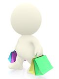 3D man with shopping bags Stock Image