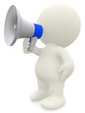 3D man shouting on a megaphone Royalty Free Stock Photography