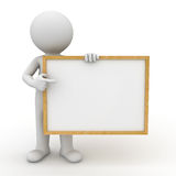 3d man showing blank board. 3d man holding blank board and pointing finger at it over white background Stock Photos