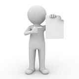 3d man showing blank paper. And pointing finger at it over white background Royalty Free Stock Images