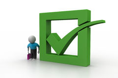3d man showing green check mark in box. In white color background Stock Image