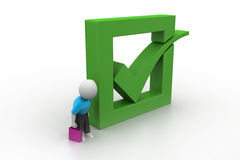 3d man showing green check mark in box. In white color background Stock Photo