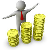 3d man showing growth in money. Isolated on white background Royalty Free Stock Photography