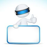 3d man showing Ok sign with placard Stock Photo