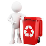 3D man showing a red bin. For recycling. Rendered on a white background with diffuse shadows Stock Image