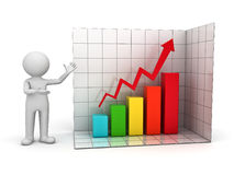 3d man showing rising business graph. 3d man presenting successful business graph over white background Stock Photography