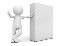 3d man showing thumb up with blank box Stock Photo