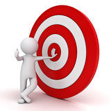 3d man showing thumb up with red target stock illustration
