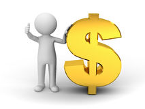 3d man showing thumbs up with gold dollar Royalty Free Stock Image