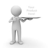 3d man showing your product on tray. And pointing finger at it over white background Stock Image
