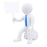 3d man sitting on the brain and holding a plate. Isolated render on a white background Royalty Free Stock Photos