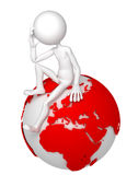 3d man sitting on Earth globe in a thoughtful pose. European and African side. Isolated white background Royalty Free Stock Photography