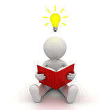 3d Man Sitting On The Floor And Reading A Book With Idea Bulb Royalty Free Stock Photo