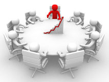 3D man sitting at a round table and having business meeting Royalty Free Stock Images