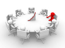 3D man sitting at a round table and having business meeting - 3d Royalty Free Stock Image