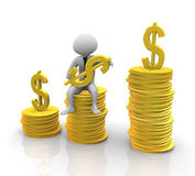 3d man sitting on stack of coins Royalty Free Stock Photography