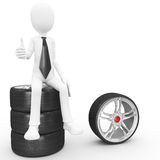 3d man sitting on tires Royalty Free Stock Images
