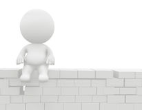 3D man sitting on the wall Stock Image