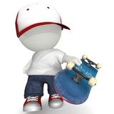 3D Man with skate board Royalty Free Stock Image
