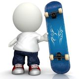 3D Man with skateboard Stock Photos