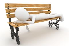 3d man sleeping on bench. Isolated on white Royalty Free Stock Images
