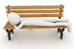 3d man sleeping on bench. Isolated on white Stock Photos