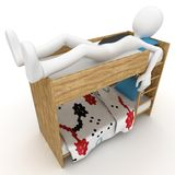 3d man sleeping in little bed. Isolated on white Royalty Free Stock Photo