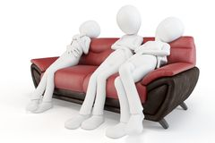 3d man sleeping on sofa Stock Photography