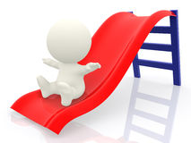 3D man on a slide Royalty Free Stock Image