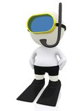 3D man snorkeling Stock Photo