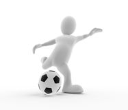 3D Man Soccer Kick Stock Photography