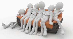 3d man with sofa Royalty Free Stock Image