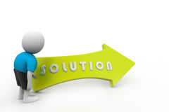 3d man with solution. In white color background Stock Photography