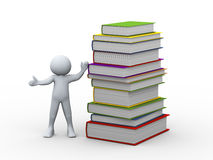 3d man and stack of books Stock Image