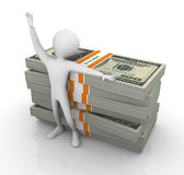 3d man with stack of dollar. 3d happy man standing with ten thousand dollar bills Royalty Free Stock Photography