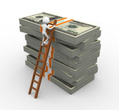 3d man with stacked dollar packs Stock Photography