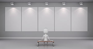 3d man standing in front of blank canvas Stock Photo