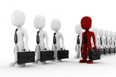 3d man standing inline, isolated on white Royalty Free Stock Photos