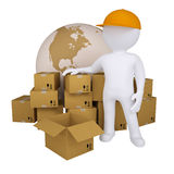 3d man standing near the boxes. Isolated render on a white background Stock Photo
