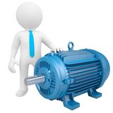 3D man standing next to the motor Stock Photography