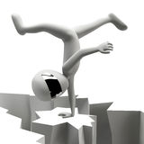 3d man standing on one hand. Royalty Free Stock Image