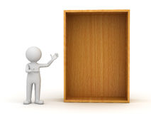 3d man standing and presenting blank wood shelf or Royalty Free Stock Image