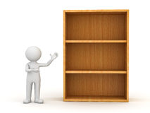 3d man standing and presenting wood shelves Royalty Free Stock Photo