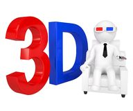 3d man in stereo glasses on a chair Royalty Free Stock Image