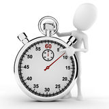 3d man and stopwatch concept Royalty Free Stock Images