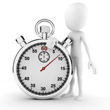 3d man and stopwatch concept Royalty Free Stock Photo